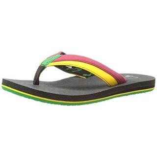 Sanuk Boys Rootbeer Cozy Light Colorblock Lightweight Flip Flops - 3-4