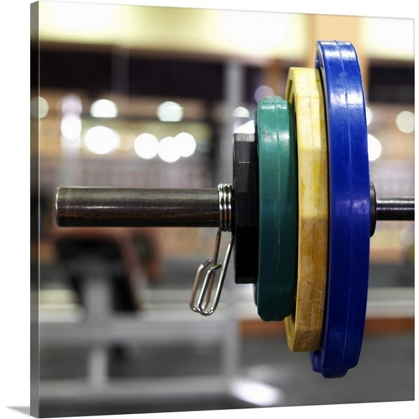 """""""Close-up of the weights on a barbell"""" Canvas Wall Art"""