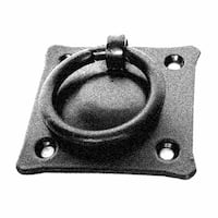 Black Iron Mission Style Ring Pull Black Cabinet Hardware 2in