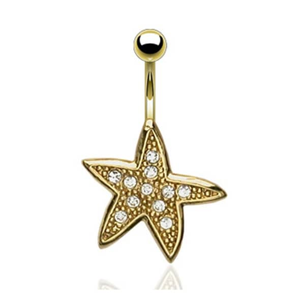 "Gold Plated Starfish Navel Belly Button Ring - 14GA 3/8"" Long"