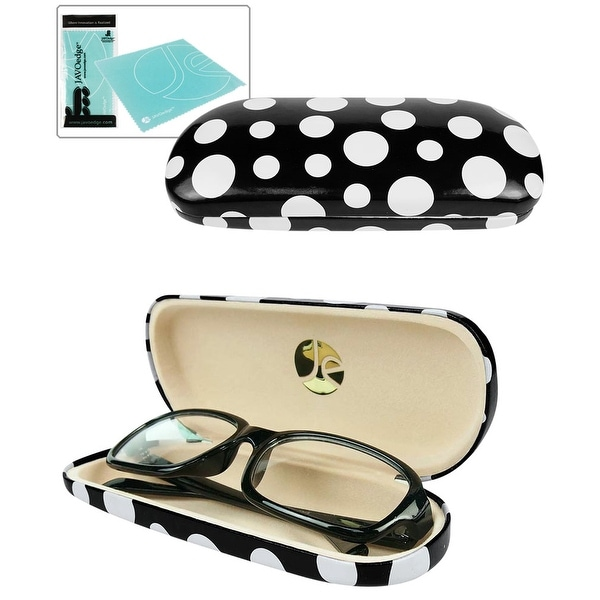 JAVOedge Glossy Polka Dot Finish Eyeglasses Case with Bonus Microfiber Cloth - Black