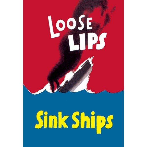 Loose Lips Sink Ships - Armed Forces - 30x20 Matte Poster Print Wall Art