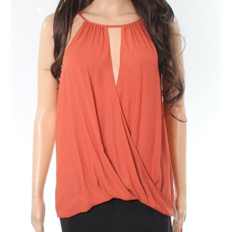 LUSH Brick Orange Women's Size XS Chiffon Tank Cami Surplice Top