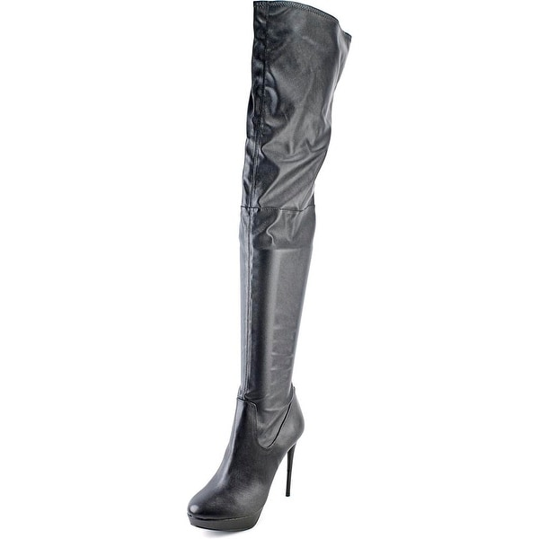 LFL Drama Women Round Toe Synthetic Black Over the Knee Boot