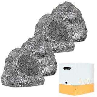 "Theater Solutions 4R8G Outdoor 8"" Granite Rock 4 Speaker Set and Wire Yard Pool"