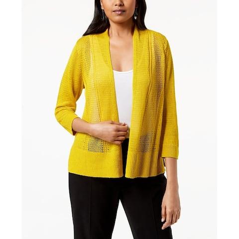 Alfani Women's Petite Mixed-Stitch Open-Front Cardigan Gold Size Medium