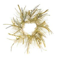 Pack of 2 Glittered Gold Pine and Holly Decorative Artificial Christmas Wreaths 26""