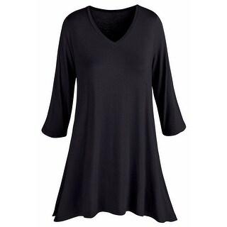 Women's Tunic Top - Bamboo Fiber 3/4 Sleeve V-Neck Shirt