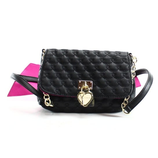 Betsey Johnson New Black Quilted Pleather Bow Crossbody Purse Bag