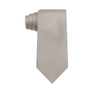 Calvin Klein Salt Pepper Solid Slim Silk Neck Tie Light Tan - One Size Fits most