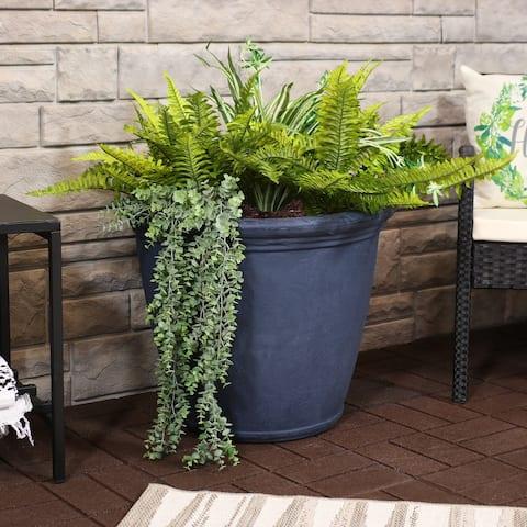 Sunnydaze Anjelica Outdoor Flower Pot Planter - Slate Finish - 24-Inch