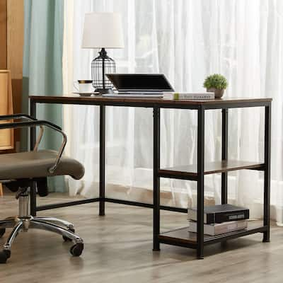 """CO-Z 47.2"""" Home Office Computer Desk with Wooden Storage Shelves"""