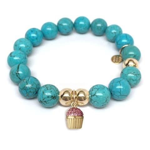 Julieta Jewelry Cupcake Charm Turquoise Magnesite Bracelet