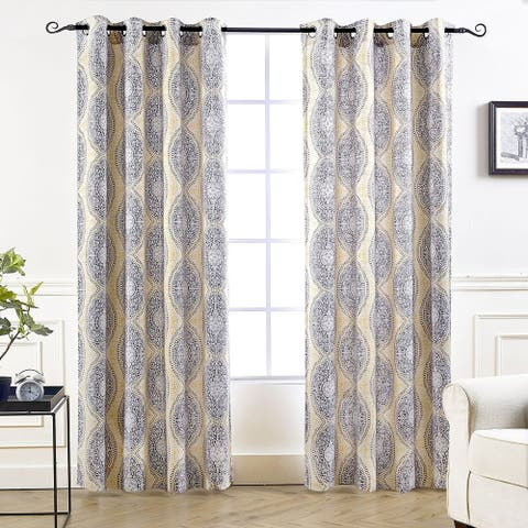 DriftAway Adrianne Pastel Damask Printed Room Darkening Grommet Window Curtain Panel Pair