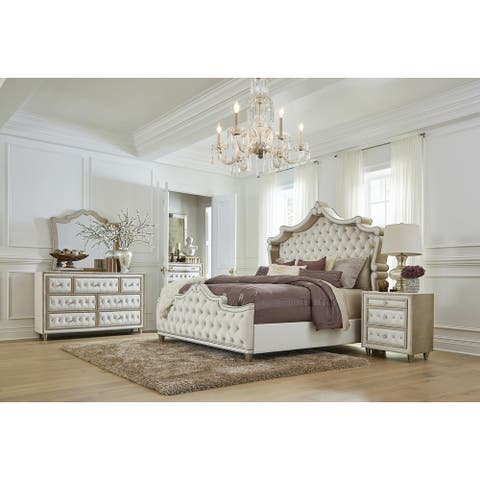 Antonella Ivory and Camel 4-piece Upholstered Tufted Bedroom Set