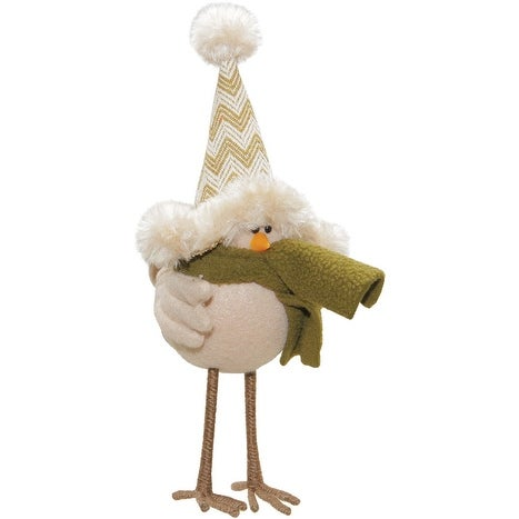 "8.25"" Cream Colored Standing Bird with Hat and Scarf Tabletop Decoration"