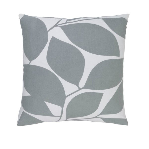 "22""Lavish Leaves Pigeon and Timberwolf Gray Decorative Throw Pillow - Down Filler"