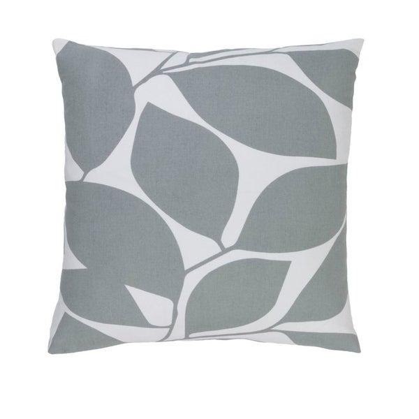 "22""Lavish Leaves Pigeon and Timberwolf Gray Decorative Throw Pillow"