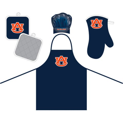 auburn tigers bundle cheft hat & apron - oven mitt & pot holder set - navy