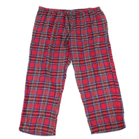 Pajamagram Womens Sleepwear Red Size 2X Plus Lounge Pants Plaid Print