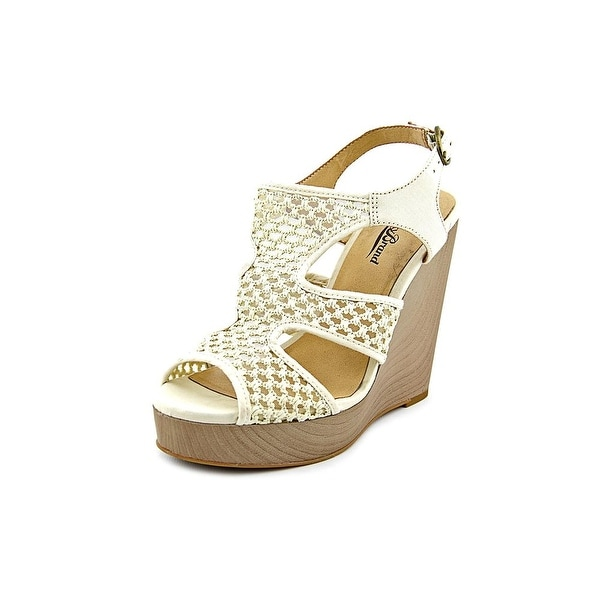 Lucky Brand Remyy Women Open Toe Canvas Ivory Wedge Sandal