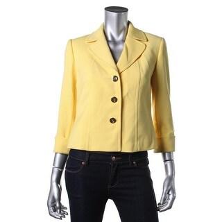 Tahari ASL Womens Petites Benson Solid Cuffed Three-Button Blazer - 4P