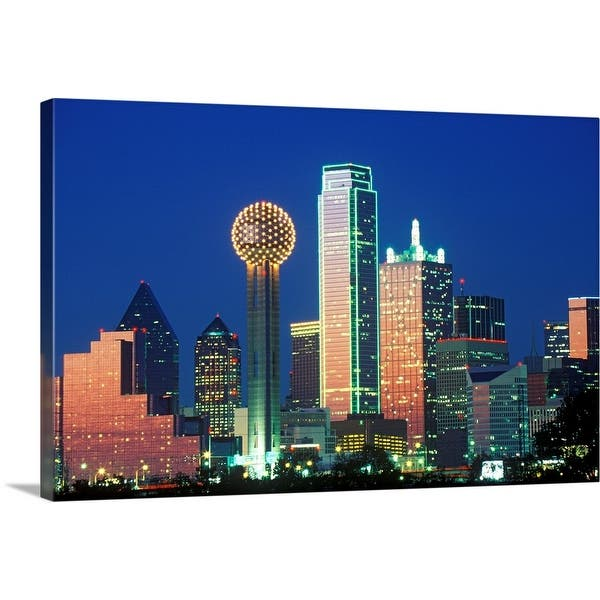 Shop Black Friday Deals On Dallas Tx Skyline At Night With Reunion Tower Canvas Wall Art Overstock 16483025