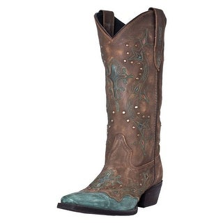 "Laredo Western Boots Womens Cross Point 13"" Shaft Brown Turq 52032"