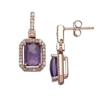 1 3/4 ct Natural Amethyst & 1/5 ct Diamond Drop Earrings in 14K Rose Gold - Purple