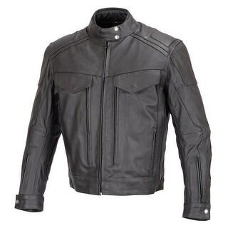 Men Motorcycle Biker Cruiser Leather Jacket Armor Black MBJ18