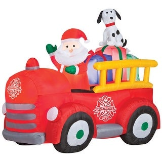 Gemmy 86290 Santa and Firetruck Christmas Inflatable, Multicolored