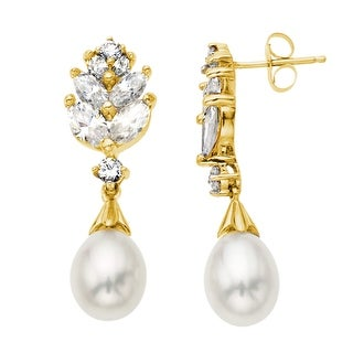 Freshwater Pearl Drop Earrings with Created White Sapphire in 10K Gold
