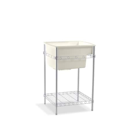 Vikrell Single Bowl Utility Sink 25-in W x 22-in L with Stand