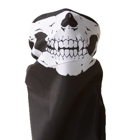 Bandana Skull/Skeleton Mask - Black/White