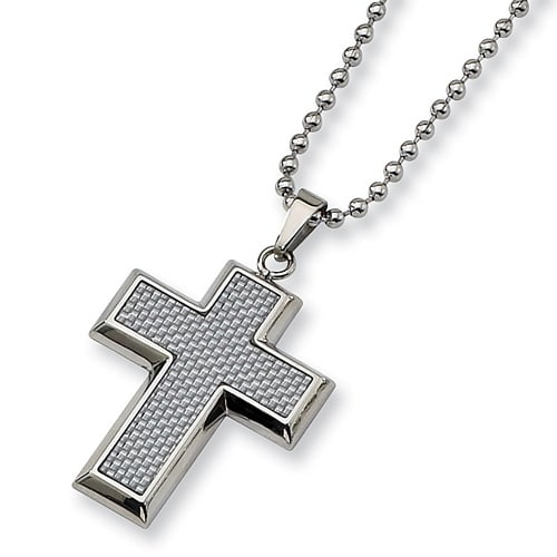 Chisel Grey Carbon Fiber Polished Stainless Steel Cross Necklace on 22 Inch Bead Chain (2 mm) - 22 in