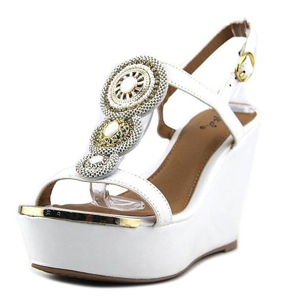 Qupid Ardor-116 Women Open Toe Synthetic White Wedge Sandal