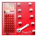 40pc Surgical Steel 18 Gauge Nose Stud with Press Fit 2mm Clear Pre-Loaded Gem - Thumbnail 0