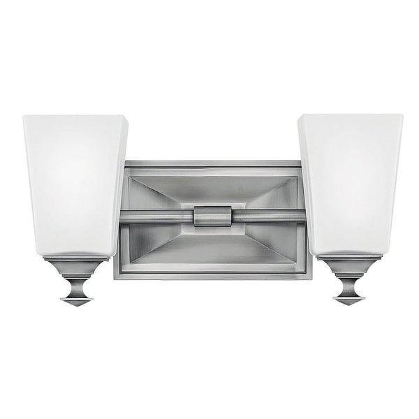 "Hinkley Lighting 56672 Baldwin 2 Light 13-3/4"" Wide Bathroom Vanity Light with Frosted Glass"