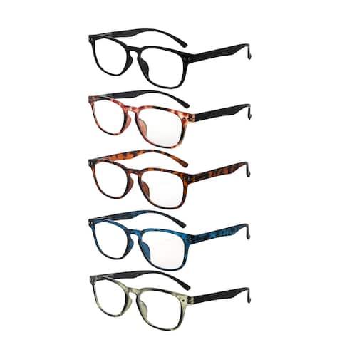 Eyekepper 5-pack Retro Reading Glasses Square Readers for Women