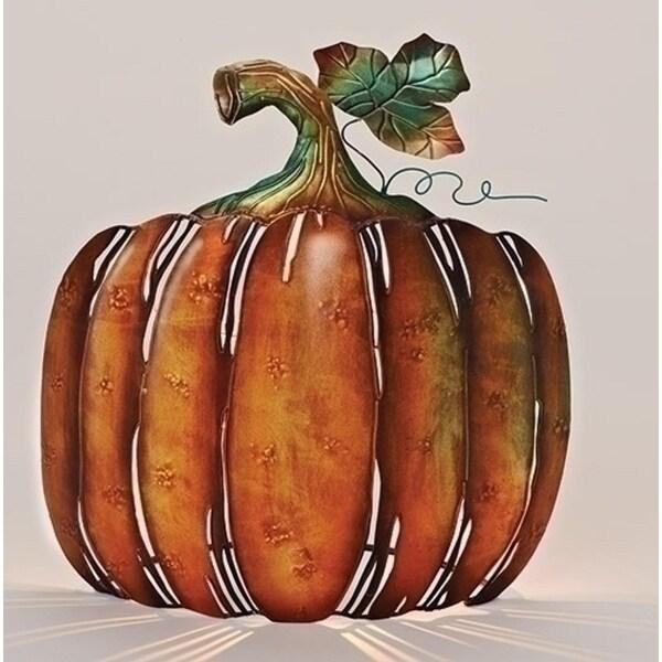 "13"" Autumn Burnt Orange and Green Metal Pumpkin Tabletop Votive Candleholder"