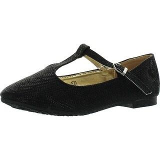 Anna Girls Triss-13K Shimmer T Strap Fashion Dress Flats Shoes