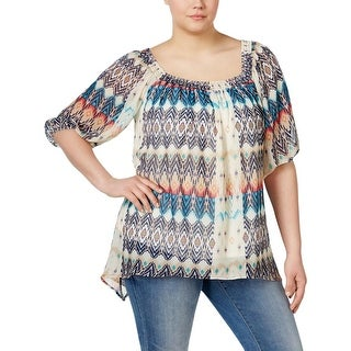 NY Collection Womens Plus Pullover Top Printed Smocked