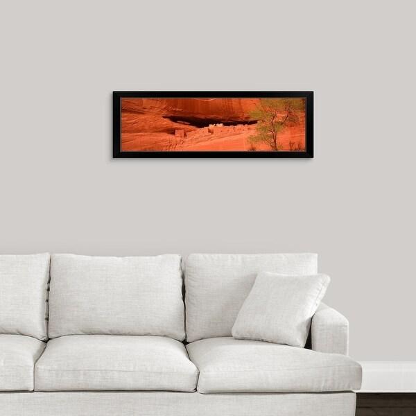 """Ruins of house, White House Ruins, Canyon De Chelly, Arizona,"" Black Framed Print"