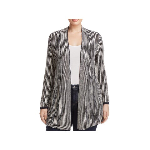 Nic + Zoe Womens Plus Cardigan Sweater Patterned Open Front