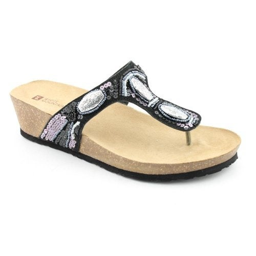 White Mountain Womens Beaming Leather Split Toe Casual Platform Sandals