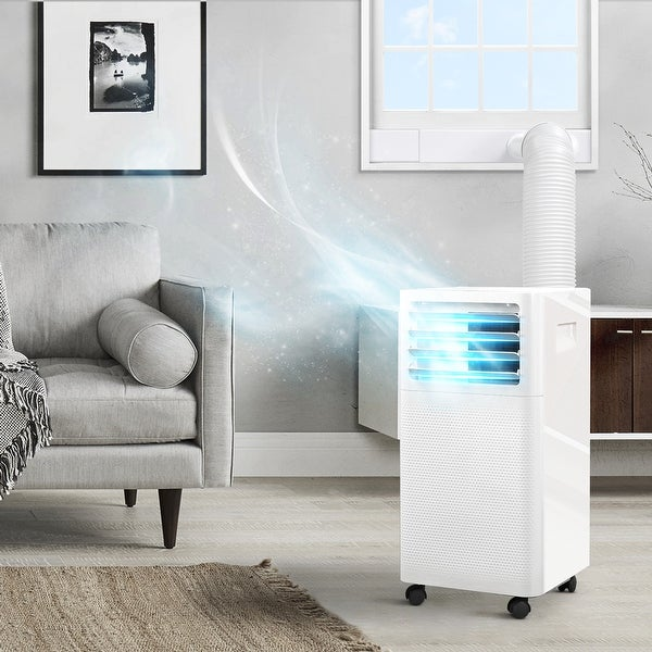 DELLA 9,000 BTU Portable Air Conditioner, LED Display, Remote, Dehumidifier & Fan For Rooms Up to 350-400 Sq.Ft,White