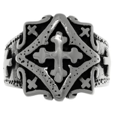 Stainless Steel Band Ring with Ornamental Gothic Cross
