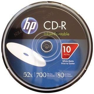 Hp Cr52Wjh010Cb 700Mb 80-Minute 52X Printable Cd-Rs, 10-Ct Cake Box Spindle