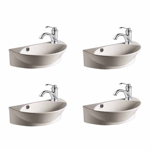 White Porcelain Wall Mount Sink with Single Faucet Hole Set Of 4