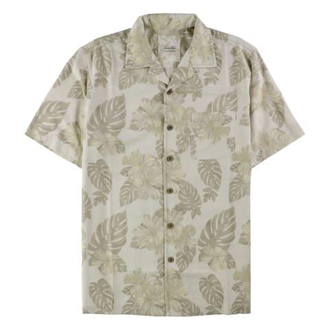 Tasso Elba Mens tropical Silk Button Up Shirt, Beige, Medium